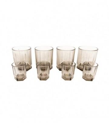 Sada pohárov 4+4 dymové 6-hran