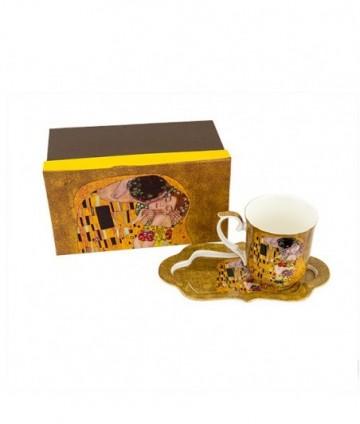 Hrnček s táckou Klimt zlatý