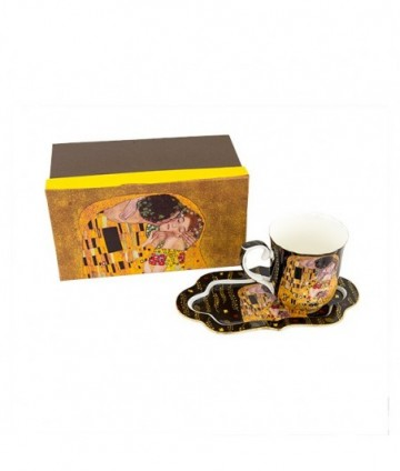 Hrnček s táckou Klimt čierny