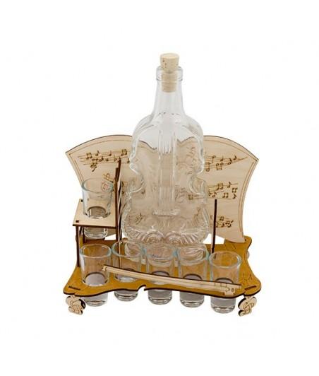Fľaša s pohármi 6ks Violončelo malé 590