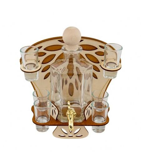 Fľaša s kohútikom s pohármi 6ks 594