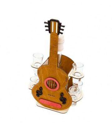 Fľaša s pohármi 6ks Gitara 702